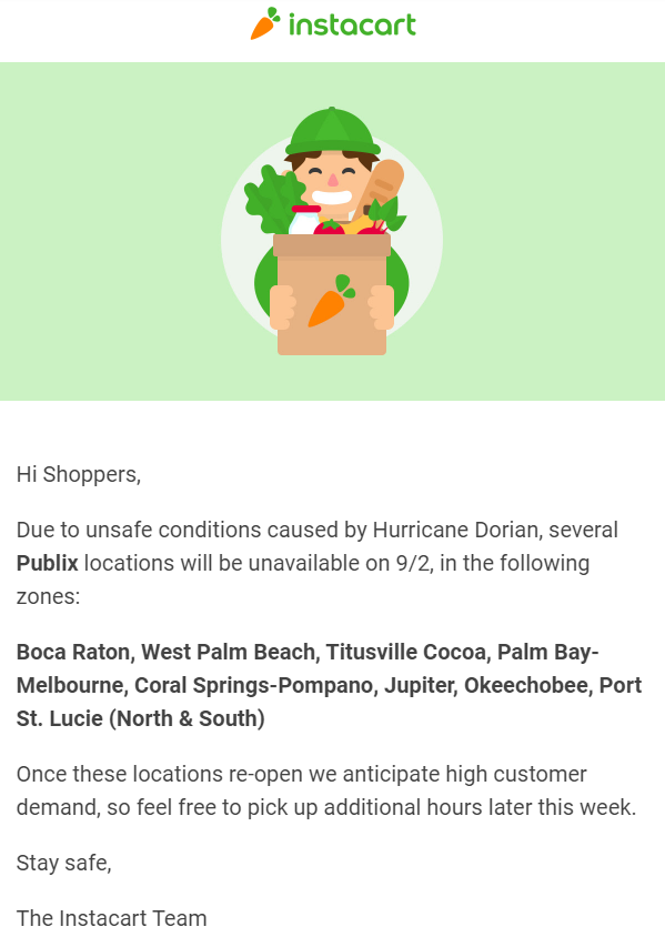 Email to Instacart Shoppers regarding Publix closures on September 2.